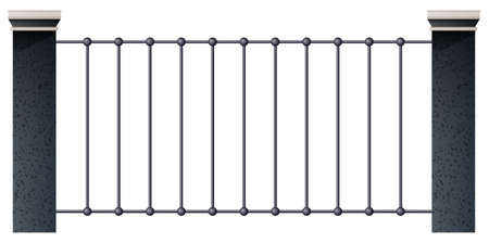 A building fence on a white background