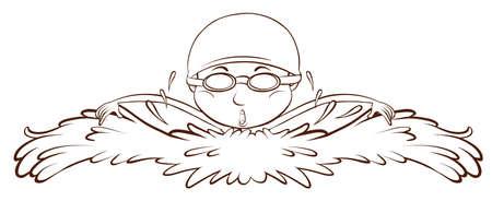 예행 연습: A plain drawing of a boy swimming on a white background 일러스트