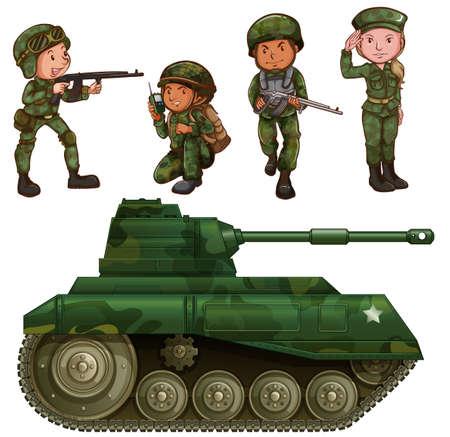 Een groep soldaten met een gepantserde tank op een witte achtergrond
