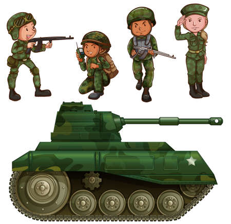 A group of soldiers with an armoured tank on a white background