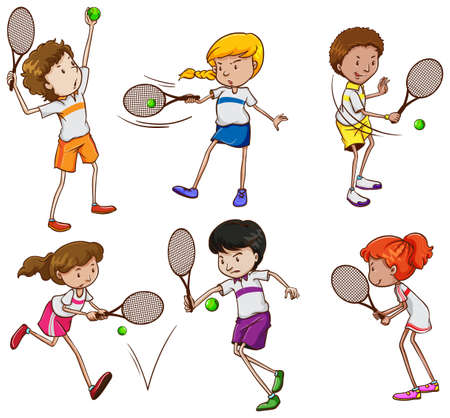 A group of kids playing tennis on a white background 向量圖像