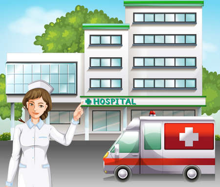 medical drawing: A nurse standing in front of the hospital