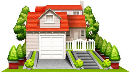 A beautiful house surrounded with plants on a white background Vector