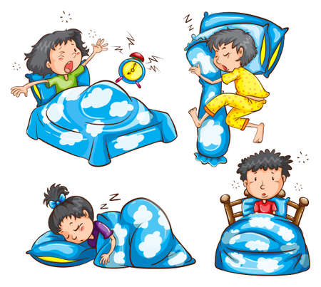 bedsheets: Different position and reaction of kids on a white background