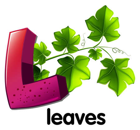 A letter L for leaves on a white background