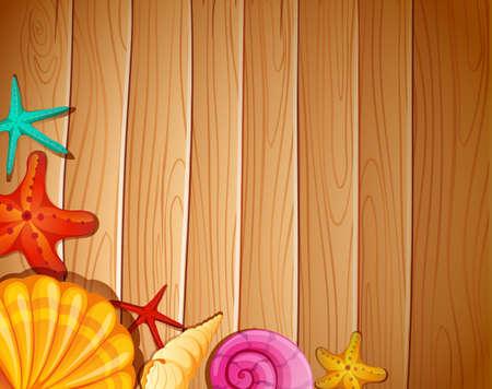 Una pared con conchas marinas Ilustración de vector