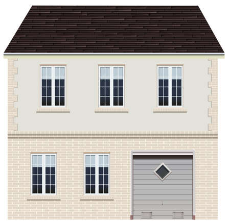 residential homes: A big house design on a white background