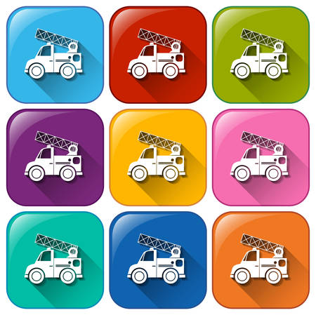 mounting: Buttons with mounting vehicles on a white background