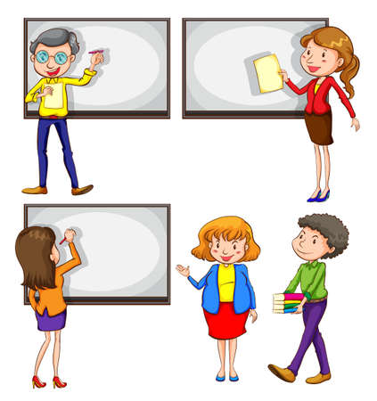 coloured background: A drawing of the male and female teachers on a white background