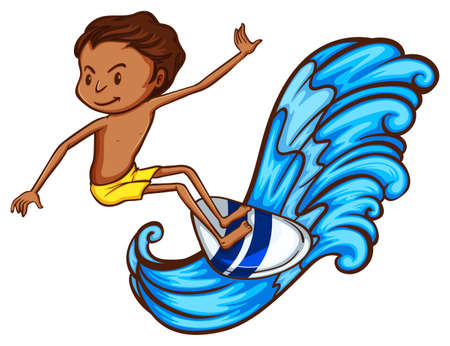 wavelengths: A drawing of a boy enjoying the waves on a white background