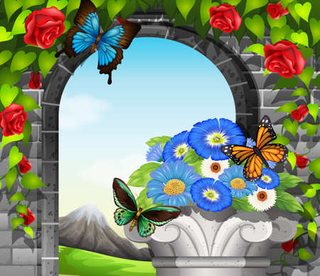 stonewall: A stonewall with flowering plants and butterflies