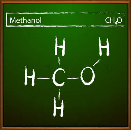 distillation: An image showing the methanol formula Illustration