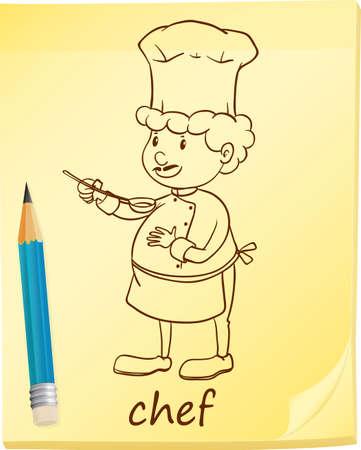 A notepad with an image of a chef on a white background Vector