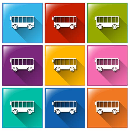 Square buttons with vehicles on a white background Vector