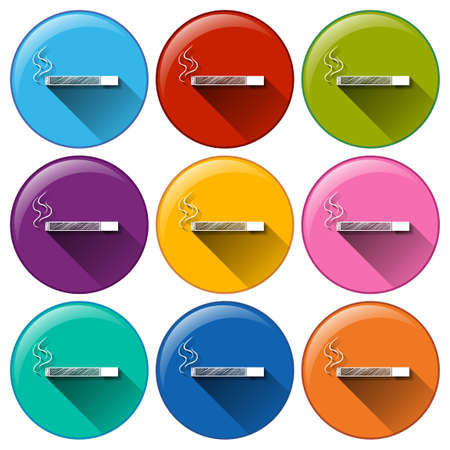 addictive: No smoking buttons on a white background