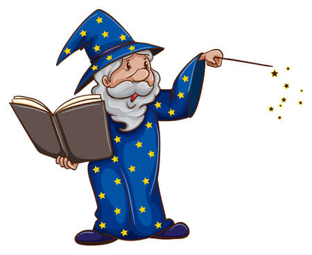 A wizard casting a spell on white Illustration