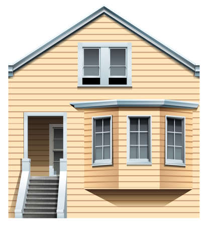 concrete stairs: A wooden residential house on a white background Illustration
