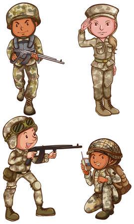 cartoon soldat: Eine einfache Zeichnung der vier tapferen Soldaten auf weißem Hintergrund
