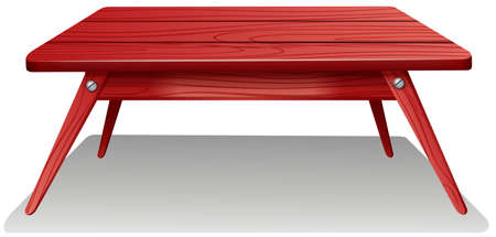 A red wooden table on a white background