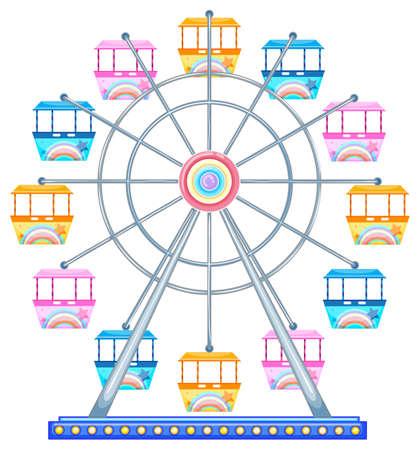 Colorful ferris wheel on white