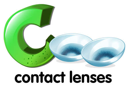 capitalized: A letter C for contact lenses on a white background