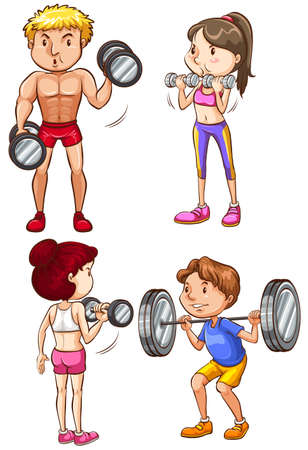 lifting weights: A set of 4 fit people working out Illustration