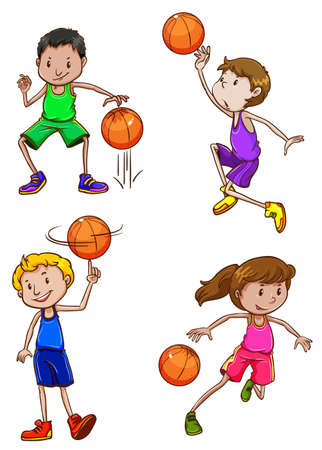 baloncesto chica: Un dibujo simple de los jugadores de baloncesto en un fondo blanco