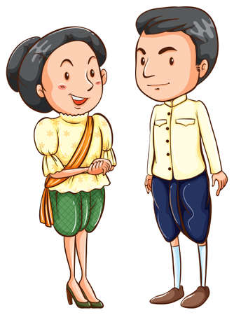 old people: Asian couple in traditional dress Illustration