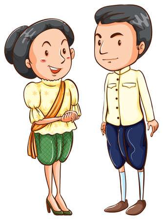 seta thailandese: Coppia asiatica in abito tradizionale Vettoriali