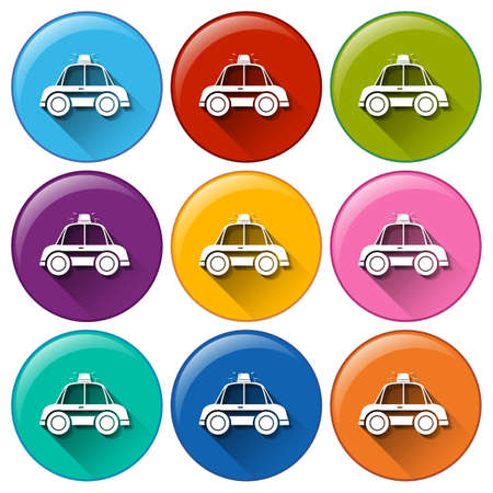 A set of 9 colorful icons with shadows Vector