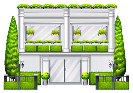 occupancy: A commercial building with green plants on a white background