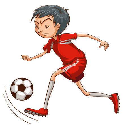 contestant: A man playing soccer on a white background Illustration