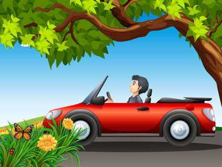 car leaf: A man driving a red car at the street Illustration