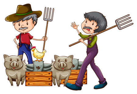 fertilizers: Farmers with their animals on a white background Illustration