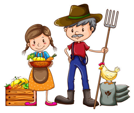fertilizers: A farmer holding a rake and a vendor with a basket of vegetables on a white background