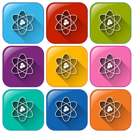 Buttons showing a science image on a white background Illustration
