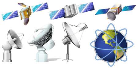 白い背景の上の衛星のグループ