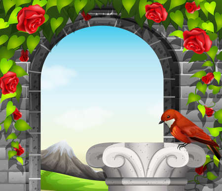 stonewall: A stonewall with roses and a bird