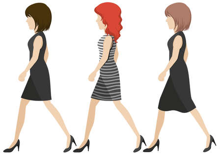sideview: Faceless girls walking on a white background