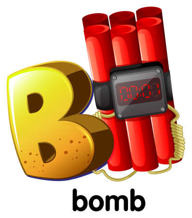 capitalized: A letter B for bomb on a white background Illustration