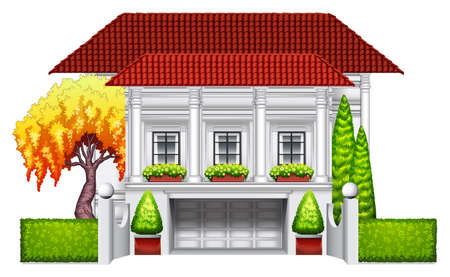 detached house: A big mansion on a white background