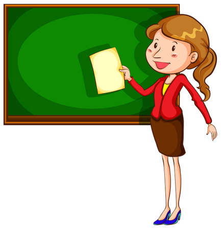coloured: A coloured drawing of a teacher near the blackboard on a white background