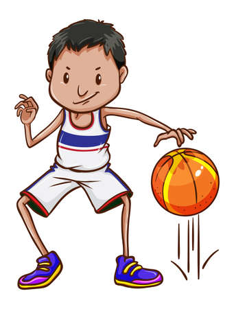 contingent: A basketball player on a white background Illustration
