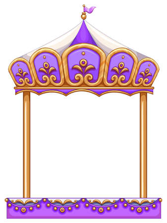carrousel: A purple merry-go round ride at the carnival on a white background Illustration