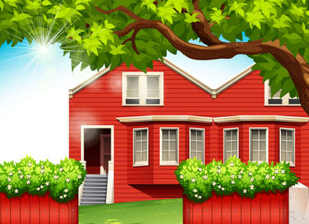 detached house: A red house with green plants Illustration
