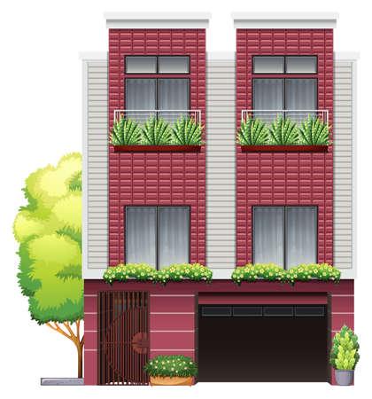 sheltering: A big building on a white background Illustration