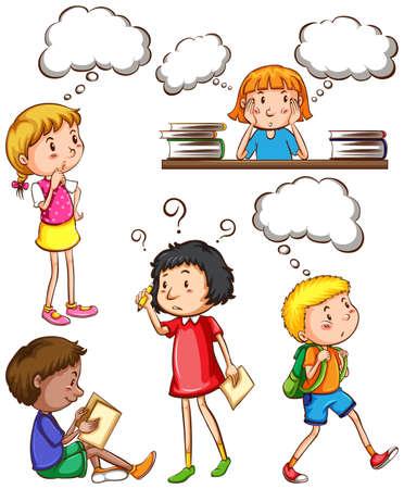 niños escribiendo: Los niños con pensamientos vacíos en un fondo blanco