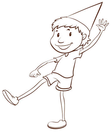 sketch: A plain drawing of a happy boy on a white background