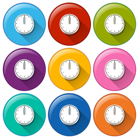electromechanical: Round buttons with clocks on a white background