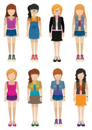 Eight girls with no faces on a white background